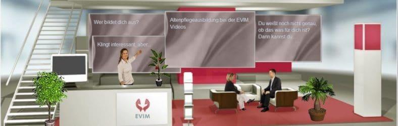 Das Bild zeigt eine virtuelle Messe.