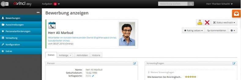 Das Bild zeigt einen Blick in die Benutzeroberfläche des Bewerbermanagementsystems d.vinci
