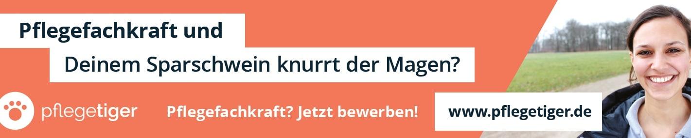 Das Bild zeigt ein beispielhaftes Werbebanner von Pflegetiger aus der Berliner U-Bahn.
