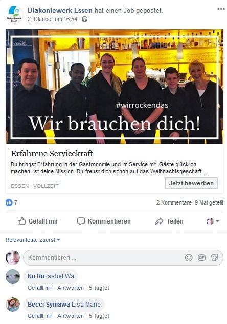Die zweite Stellenanzeige der Diakonie Essen bei Facebook Jobs - Screenshot