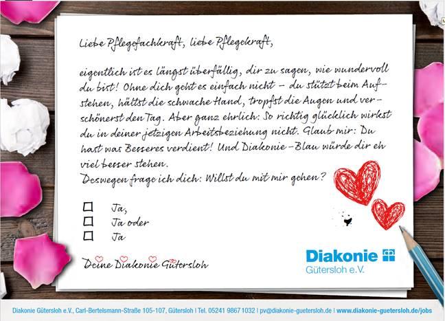 Emotionale Stellenanzeige der Diakonie Gütersloh zum Valentinstag