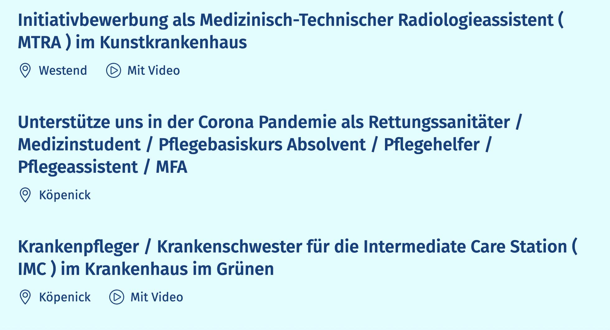 Videostellenanzeigen der DRK Kliniken Berlin